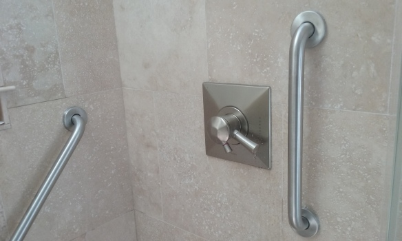 Brushed stainless steel grab bars