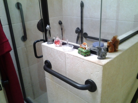 Flat black grab bars